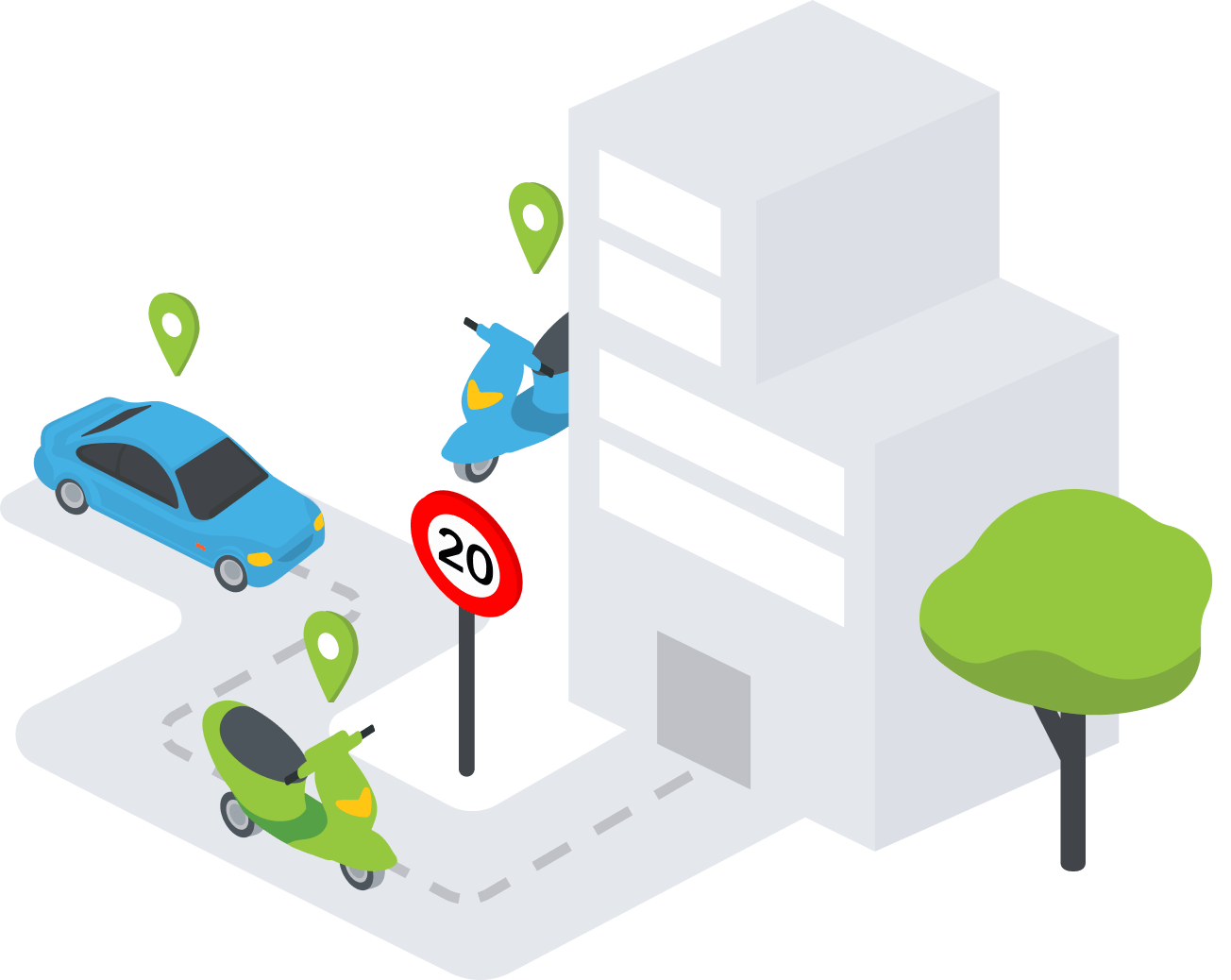 Stebėkite esamą maršrutą ir transporto priemonės judėjimo greitį